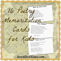 16 printable 3 x 5 cards with classic poems that kids can memorize. Feel free to download & print them for your own use.