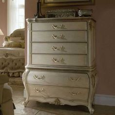 Pearl painted distressed chest of drawers