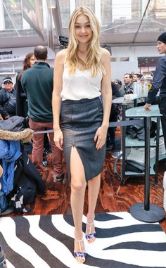 The Sports Illustrated model attend an even for the mag in New York City looking effortless in a black slit Katharine Kidd skirt.
