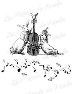 The Musician rabbit pet note music love crown violin by JLeeloo2