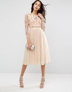 Needle thread ditsy scatter tulle midi dress icon