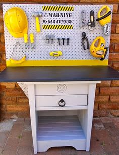 Turn an ugly, old nightstand into a kid's workbench. Time to search garage sales and Craigslist for nightstands in need of a little TLC.