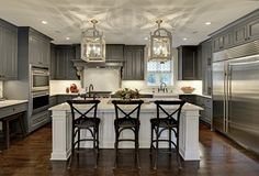 Charcoal Transitional Kitchen. I thought these features, fixtures & designs this gorgeous, existed only in my dreams!