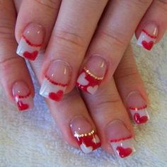 22 Best Valentine's Day Nail Designs for 2018 - Nail Art HQ Fancy Nails, Trendy Nails, Cute Nails, My Nails, Glitter Nails, Valentine's Day Nail Designs, Best Nail Art Designs, Acrylic Nail Designs, Nails Design