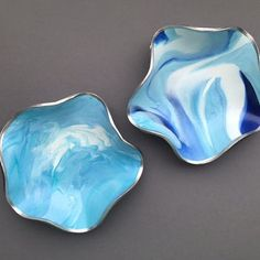 Ocean Blue Trinket Dish, Polymer Clay, Clay Miniature Bowls, Handmade Ring Container, Beach Modern, Marbled Clay Bowls, Gifts for Women