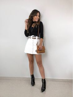 White Skirt Outfits, White Denim Skirt, Cute Outfits, Look Fashion, Skirt Fashion, Fashion Outfits, Womens Fashion, Fashion Trends, Looks Jeans