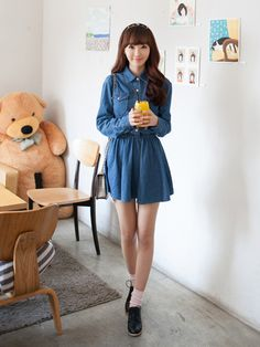 New #korean #denim #dresses www.koreanfashionista.com