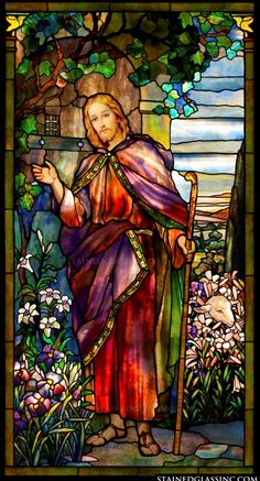 """""""Jesus Knocking at the Door"""" Religious Stained Glass Window Stained Glass Church, Stained Glass Art, Stained Glass Windows, Mosaic Glass, Catholic Art, Religious Art, Image Jesus, Pictures Of Jesus Christ, Church Windows"""