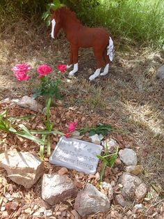 One of my customers tragically lost a dear little Clydesdale foal.  She shared this picture of the memorial she created in his honour.