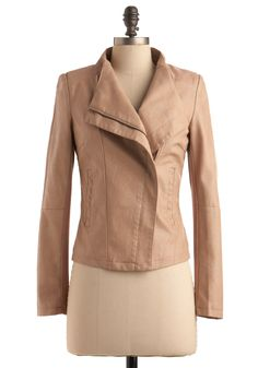 Tan faux leather jacket #ModCloth