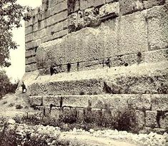Baalbek - Another mystery is found in the stone wall on the far or backside of the temple, that side that is the most famous in pictures because it shows the remarkable proportion of the megaliths in contrast to other stones around them.