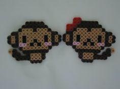 Monkey Couple, Perler Beads, Hama Beads, bead sprites by PerlerHime Pony Bead Patterns, Hama Beads Patterns, Beading Patterns, Kandi Patterns, Perler Bead Templates, Peler Beads, Origami, Fusion Beads, Iron Beads