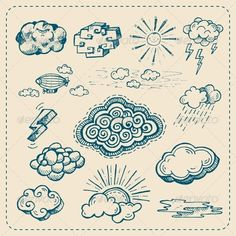 Vector Collection of Hand Drawn Cloud Icons