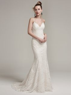 Sottero and Midgley - BEXLEY, Modern and romantic, this lace sheath wedding dress with spaghetti straps and V-neckline highlighted with opal beads is unforgettably feminine and chic. Finished with illusion lace halter back and covered buttons over zipper closure.