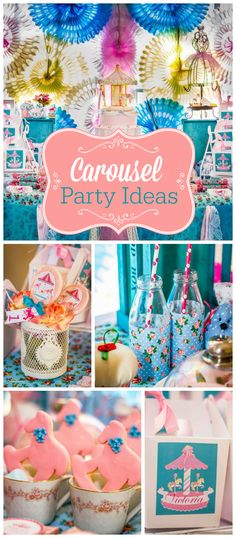 A shabby chic carousel themed girl birthday party with lovely cookies, favors and party decorations! See more party planning ideas at CatchMyParty.com!