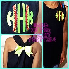 "This is a regular tank top that is pulled together in the back with a beautiful bow to make it more form fitting but still flowy at the bottom. Monograms are typically set up as ""first-LAST-middle initial"", so BE SPECIFIC in your message which initial is which, so that your order is correctly ..."