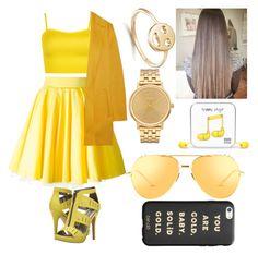 """yellow!!"" by arra-corvus ❤ liked on Polyvore featuring WearAll, Philipp Plein, Rochas, Michael Antonio, Bing Bang, Nixon, Happy Plugs, Linda Farrow and ban.do"
