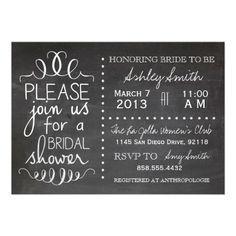 Chalkboard Bridal Shower Invitation or baby shower invite done in blue or pink chalk
