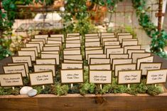 Nature-Inspired Escort Cards - Rustic or metal box with moss & little rocks. Probably throw some foam in the bottom to hold the sticks.