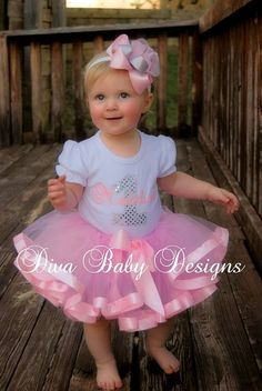 Girls 1st Birthday Outfit  Pretty in Pink by DivaBabyDesigns