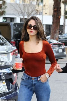 The actress flaunted her fit figure in a red bodysuit paired with skinny jeans on a quick breakfast date at Alfred in Studio City with her mom, Glenda. Beautiful Celebrities, Gorgeous Women, Red Bodysuit, Baby Girl Photography, Indian Bollywood Actress, Fashion Outfits, Gym Outfits, Fitness Outfits, Girls With Glasses