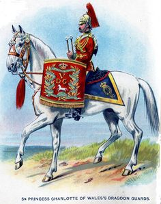 (Princess Charlotte of Wales's) Dragoon Guards, Kettledrummer, from Bands of the British Army by W. Gordon and illustrated by F. British Army Uniform, British Uniforms, Military Uniforms, Military Art, War Drums, War Horses, Princess Charlotte, Sailors, Green Jacket