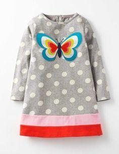 Grau Meliert mit Schmetterling Jerseykleid mit Motiv Boden
