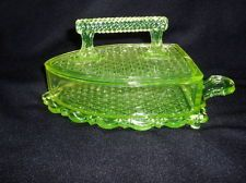 Vaseline Glass Flat Sad Iron Covered Butter Dish