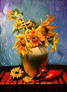 Van Gogh Sunflower, large limited edition print by Delmus Phelps giclee printing ink ~ 19 x 13  $75 large, $35 small