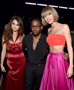Selena Gomez, Kendrick Lamar and Taylor Swift at the 58th Annual GRAMMY Awards on Feb. 15 in Los Angeles