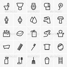 Bathroom Icons  #GraphicRiver         Set of Bathroom icons. The image is a vector illustration and can be used for different compositions. The image is an .eps file and you will need a vector editor to use this file, such as Adobe Illustrator.