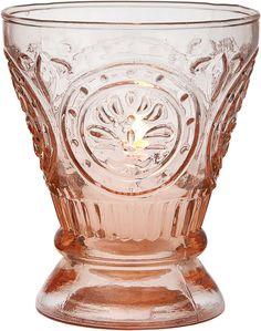 Glassware -Votive Holder - Vase - Vintage Pink Fluted design