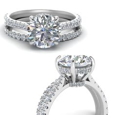 0b38ba5370 Shop cathedral hidden halo diamond wedding ring set in 14k white gold at  Fascinating Diamonds.