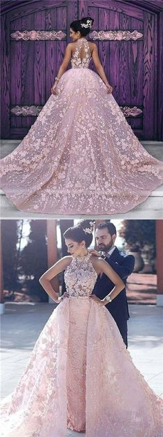 Luxury Wedding Dresses Halter Embroidery Organza Prom Dress/Evening Dress P2225 #weddingdress