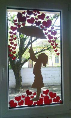 Window art - art - Wall design ideas - Window art art Window art art The post window art art appeared first o - Class Decoration, School Decorations, Valentines Day Decorations, Valentine Day Crafts, Valentines Day Decor Classroom, Diy And Crafts, Crafts For Kids, Paper Crafts, Window Art
