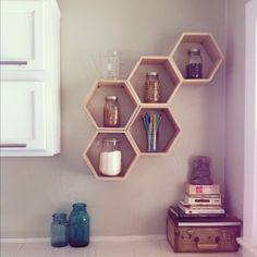 As if the kitchen wasn't already my favorite room in our house, I made and designed these honeycomb shelves to seal the deal!!   I abs...