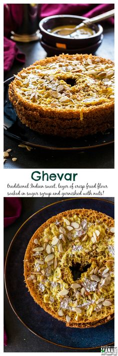 Ghevar in traditional Indian sweet made of flour and soaked in sugar syrup and garnished with nuts and rabri (thickened milk)! Find the recipe on www.cookwithmanal...
