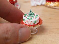 Beautiful Christmas Cake Christmas Tree Candy Canes Holly | Etsy Miniature Christmas, Christmas Minis, Miniature Food, Christmas Tree, Gingerbread Village, Barbie Food, My Doll House, Homemade Ornaments, Mini Things