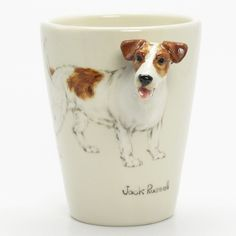 http://www.muddymood.com  Original hand sculpt and hand paint   Jack Russell Dog Ceramic Mug Handmade.