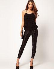Black Sequin Legging   ASOS