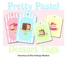 Free Pretty Pastel Dessert Printable Tags