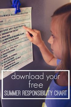 Help your children find a routine that works this summer with this free summer responsibilities chart that you can personalize. There is even an option for non-readers. Kids Summer Schedule, Summer Kids, Free Summer, Responsibility Chart, Chores For Kids, Toddler Fun, Summer Activities, Kids Learning, Learning Tools