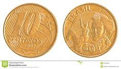 Real brasileiro (1994-em uso)  (x) 10 centavos (1997-em uso) O: efígie de Pedro I (1798-1834, fundador e primeiro imperador do Brasil)/R: valor;