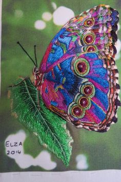 7b699c22a Butterfly Embroidered Butterflies, Butterfly Embroidery, Embroidery  Needles, Beaded Embroidery, Machine Embroidery,
