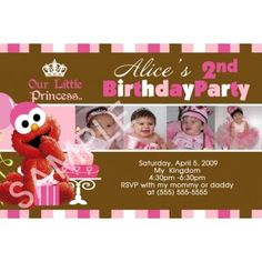 Photo Timeline of your little girl as she grows up with this elmo birthday invitations personalized with your wording and photo.