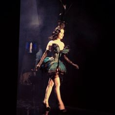 Dita Von Teese makes a surprise appearance in a butterfly-inspired dress at the Jean Paul #Gaultier #couture show #PFW