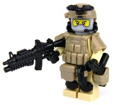 Army Special Forces Heavy Assault Commando with Guns Made With Real LEGO(R) Mini-Figure Parts