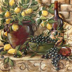 Tre Sorelle's Art Licensing Program Decoupage Vintage, Kitchen Art Prints, Coaster Art, Painting Ceramic Tiles, Decoupage Printables, Wine Painting, Tile Murals, Still Life Art, Diy Canvas