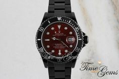 Men's Rolex Black Coated DLC/PVD Red Dial Submariner