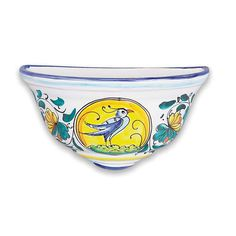 Affix this elegant wall planter anywhere to embellish your home with a touch of Italian artistry. Put a bird on it! :) Handmade and hand painted in Sicily, Italy, but sold at the Italian Pottery Outlet in Santa Barbara, CA. #putabirdonit